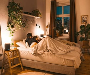 bedroom, chillin, and couple image