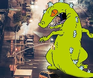 city, reptar, and car image