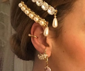 bling, earrings, and gold image