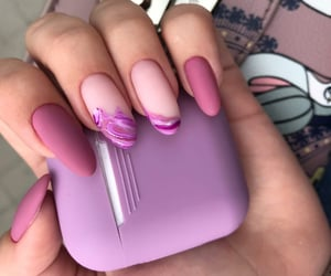 earphones, nails, and purple image