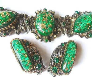 etsy, emerald green, and green gold earrings image