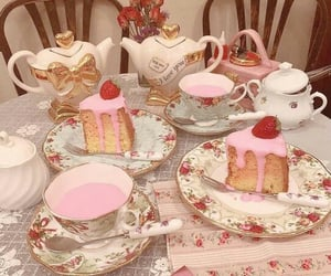 pink, cake, and tea image