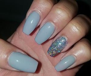 blue nails, makeup, and nails image