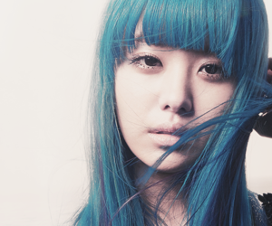 asian, blue hair, and korean image