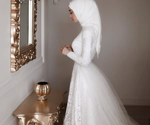 bride, hijab, and wedding dress image