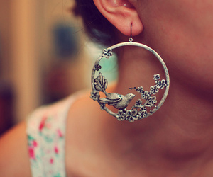 earrings, bird, and flowers image
