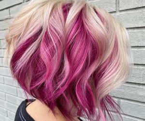 wavy hair, bob hair, and pink hair color image