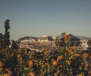 acropolis, art, and blue image