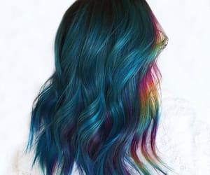 blue hair, color hair, and rainbow hair image