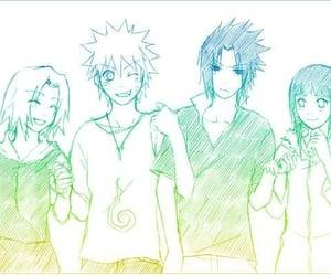 naruto, narusaku, and sasuke uchiha image