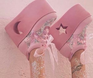 pink, shoes, and moon image