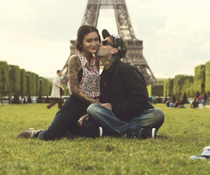 photography, couple, and eiffel tower image