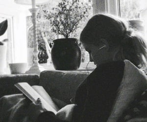 black and white, reading, and book image