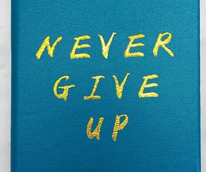 blue, never give up, and diary image
