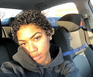 curly hair, hoodie, and short hair image