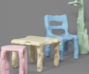 furniture, light blue, and green image