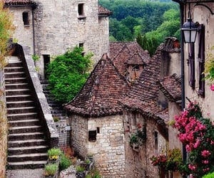 architecture, flowers, and medieval village image