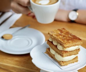millefeuille, coffee, and dessert image