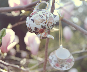 vintage, floral, and teapot image