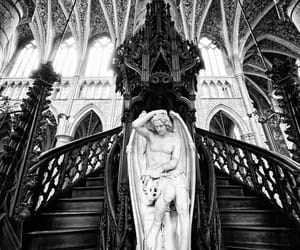 architecture, black and white, and angel image