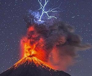 eruption, lightning, and volcano image