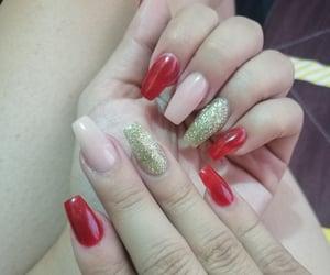 red nails, glitter nails, and nail design image
