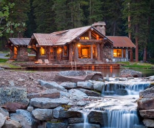 house, waterfall, and home image