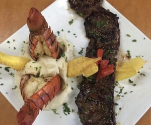 lobster, mashed potatoes 🥔, and beef 🥩 image