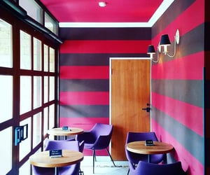 cafe, pink, and wallpapered image