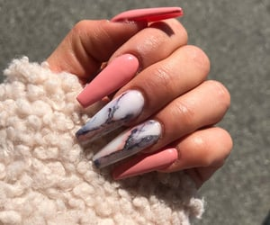 long nails, valentine nails, and pink marble image
