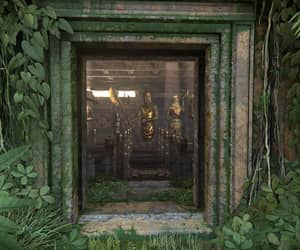 statues, hidden, and overgrown image