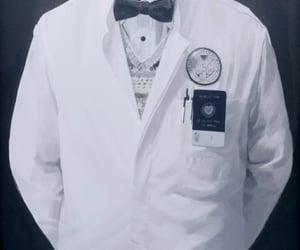 badge, bowtie, and lab coat image