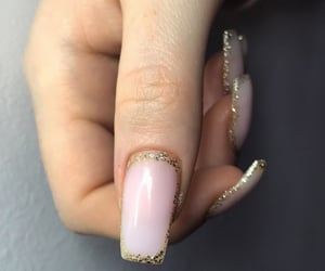 gold, gold glitter, and pink nails image