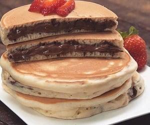 food, pancakes, and chocolate image
