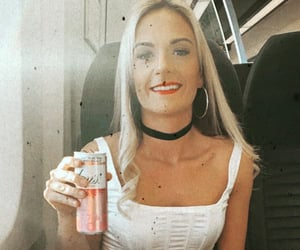 blonde, choker, and drink image
