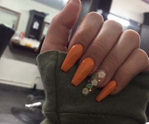 nails, orange, and flowers image