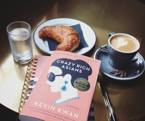 book, coffee, and crazy rich asians image