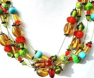 art glass, spring summer, and multi-strand necklace image