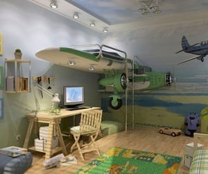 airplanes, bedroom, and loft bed image