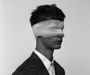 boy, black and white, and dark image