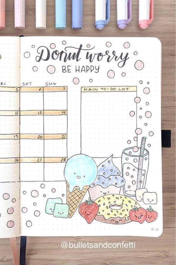 bullet journal, monthly spread, and bujo ideas image