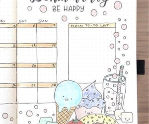bujo monthly log with ice cream doodles