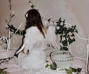 angel, Angel Wings, and white bed image