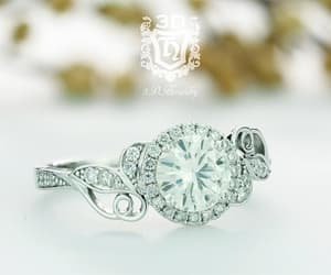 diamond ring, floral ring, and diamond halo ring image
