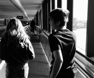 airport, black and white, and couple image