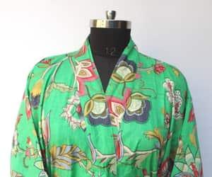 boho fashion, shower robe, and hippie kimono dress image