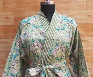 dressing gown, women fashion, and kimono jacket image