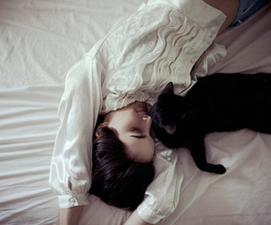 cat, girl, and bed image