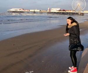 beach, burnette, and Sunny image