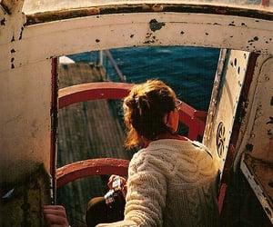 girl, sea, and boat image